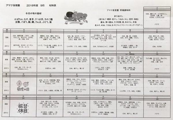 アマナ保育園の食育に力を入れた給食献立表